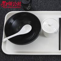 白领公社 托盘茶盘 白色长方形欧式托盘茶盘家用塑料快餐盘水果盘多功能客房盘密胺蛋糕盘