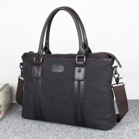 新款M/爱牧格帆布男包休闲商务包电脑包男士包包文件手提包单肩斜跨包