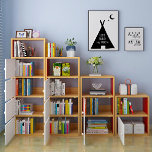 亿家达书柜带门简约现代自由组合储物柜经济型书架简易家具置物柜书柜