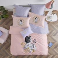 LOVO家纺 迪士尼正版授权全棉磨毛床品四件套学生保暖套件可爱学生床单被套 白雪公主与苹果