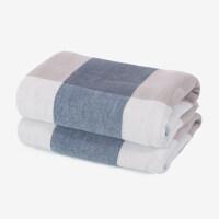 智阳纱布毛巾棉洗脸家用柔软吸水日系情侣一对棉2条装