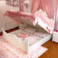 韩式田园实木公主床粉色卧室白色欧式简约成套家具特价