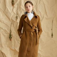 【3折到手价:540元】爱客羊毛大衣女中长款秋冬新款修身显瘦时尚赫本风双面呢外套
