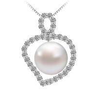 相思树珍珠吊坠 925纯银镀金链 时尚饰品项链女 心形满钻项坠 XL093