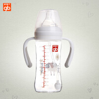 gb好孩子婴儿新生儿宽口径玻璃奶瓶宝宝奶嘴吸管带手柄180/260ml