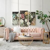 轻奢后现代简约美式三人沙发客厅小户型双人欧式丝绒布艺北欧沙发