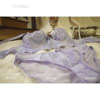 欧美女文胸套装性感网纱刺绣透肤内衣少女春夏透明诱惑 浅紫色