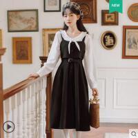 时尚新款衬衫两件套裙子学院风温柔风减龄背带 连衣裙白衬衫