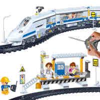 【当当自营】邦宝和谐号小颗粒儿童积木遥控高铁动车火车轨道拼装玩具模型8221