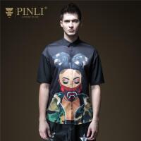 PINLI品立2020夏季新款男�b修身印花短袖�r衫男�r衣潮B192213446