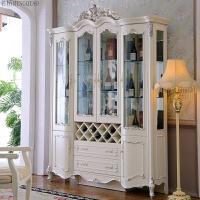 欧式酒柜描金玻璃门储物柜家用酒柜象牙白雕花客厅实木酒柜玄关 4门