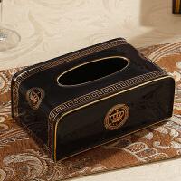 20190814192653907欧式客厅纸巾盒创意家用陶瓷抽纸盒 简欧茶几装饰品家居摆件 黑色 皇冠(黑色)