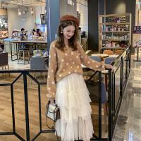 MG小象气质两件套女秋季2019新款韩版波点开衫毛衣网纱半身裙套装