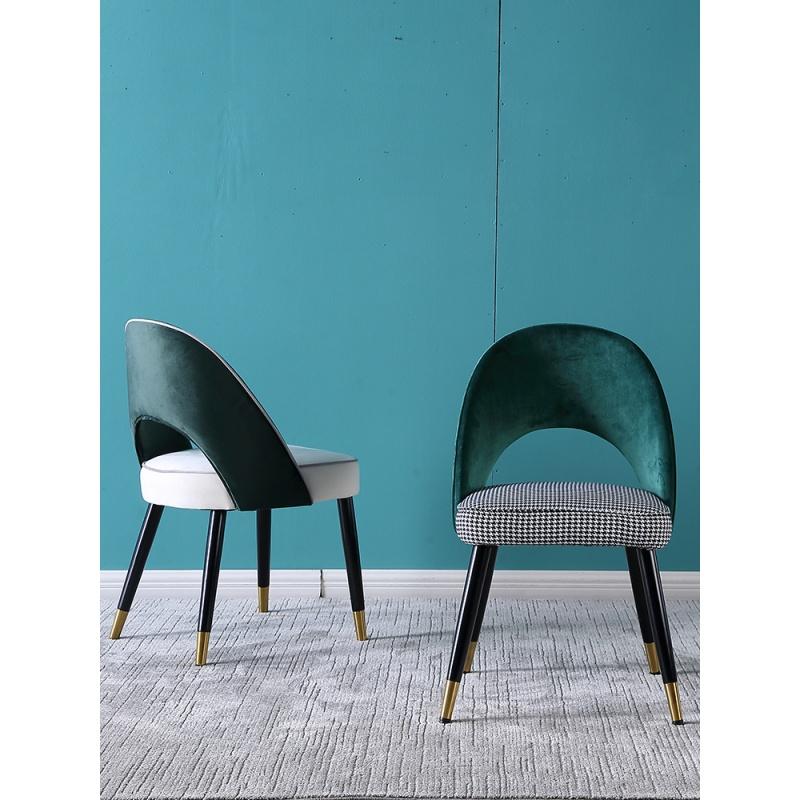 北欧实木餐椅现代简约布艺梳妆椅子设计师休闲椅子咖啡厅椅子 品质家具,放心选购;质量保证,售后无忧。