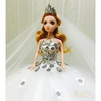 3D真眼珠芭比娃娃新娘婚纱大裙摆女孩玩具礼物洋娃娃婚庆影楼摆件