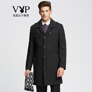 花花公子贵宾羊毛大衣男秋冬新款男装轻薄中长款风衣大衣男外套
