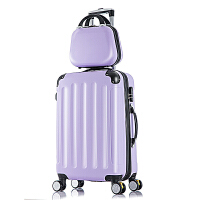 拉杆箱万向轮小清新学生行李箱女20寸22寸24寸旅行箱男韩版子母箱可商务 米白色 包角加固