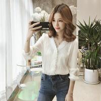 衬衫 女士V领蕾丝拼接长袖衬衫2019年秋季新款韩版时尚女式宽松休闲女装套头衫