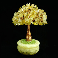 摆件摇钱树新款手工天然黄水晶紫水晶粉水晶白水晶树发财树聚宝盆摆件Q