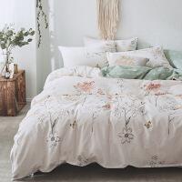 棉四件套田园风格纯棉被套床单双人学生时尚印花床上套件