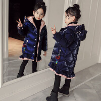 女童棉衣中长款2017新款羽绒季洋气鱼尾款棉袄女孩加厚外套