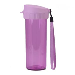 特百惠轻盈茶韵水杯380ml塑料带茶隔时尚随手心杯子茶杯  熏衣紫