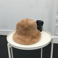 新款日系秋冬平顶毛绒盆帽女纯色加厚保暖渔夫帽英伦卷边小礼帽 M(56-58cm)