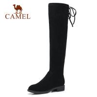 骆驼2018秋冬季新款长筒靴子女中跟弹力靴平底过膝靴圆头瘦瘦靴