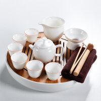 家用汝窑功夫茶具茶杯陶瓷干泡茶盘托套装日式简约小茶台茶海