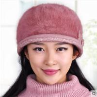 女冬天保暖帽加厚毛线帽针织帽韩版潮时尚兔毛帽贝雷帽
