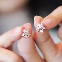 花朵雪花锆石耳钉女925纯银耳针小巧可爱耳环时尚个性耳饰品