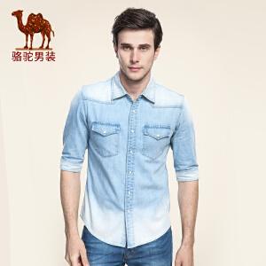 骆驼男装 夏季新款尖领五分袖牛仔布中袖衬衫日常棉质衬衣男