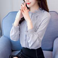 长袖雪纺衫女装秋装2018新款潮韩版时尚蕾丝上衣衬衫百搭衣服气质 灰蓝色