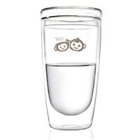 双层玻璃杯透明杯子带盖水杯泡茶杯女双层玻璃杯创意随手过滤水杯便携花茶杯子