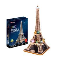 3D立体拼图玩具 巴黎埃菲尔铁塔拼装仿真模型创意礼物带灯