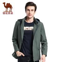 骆驼男装 秋冬季男士商务休闲厚夹克衫纯色休闲外套男