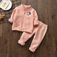 秋韩版宝宝加绒套装新款男童女童保暖上衣中小童加厚运动两件套