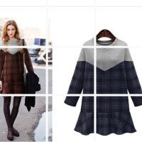 毛呢连衣裙秋冬款2017新款修身中长款加厚女长袖时尚格子拼接裙子