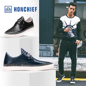 HONCHIEF 红蜻蜓旗下 秋季休闲皮鞋男 时尚韩系带缝线轻质男单鞋
