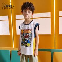 【2件3折:35.7元】小虎宝儿儿童背心2021夏季新款男童纯棉宽松童装中大童卡通