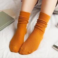 3双装堆堆袜女日系秋冬纯棉薄款女袜纯色复古森系短靴袜套长筒袜子