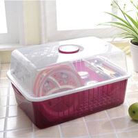 普润(PU RUN) 普润厨房置物架 塑料滴水碗碟收纳架 不锈钢伸缩水槽沥水架 滴水碗架 酒红色