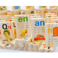 盒装90片学拼音汉字认知多米诺骨牌 儿童益智早教木制积木玩具 儿童节玩具
