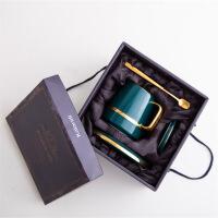 【家装节 夏季狂欢】咖啡杯套装家用 欧式小奢华创意子带勺带碟下午茶茶具 夏洛克咖啡杯盖+碟+勺-*盒龙雀蓝金边
