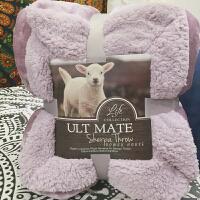 出口美国马卡龙双层羊羔绒毛毯加厚单双人盖毯珊瑚绒毯子慕绒