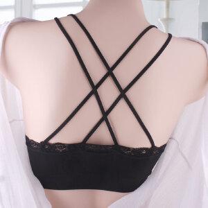 夏季白色抹胸美背裹胸女士蕾丝吊带小背心有透气插片连体杯胸垫3740