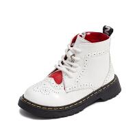 女童靴子2018秋冬季新款儿童马丁靴加绒小女孩短靴英伦风公主棉靴 白色 (网布内里)