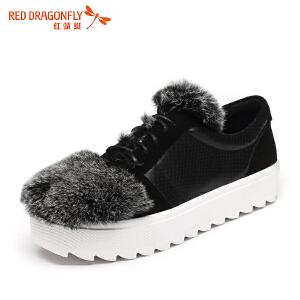 红蜻蜓女鞋兔毛拼接厚底女士休闲鞋