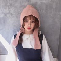 帽子女潮时尚韩版百搭黑色毛线帽秋冬季包头针织帽渔夫帽保暖护耳冷帽