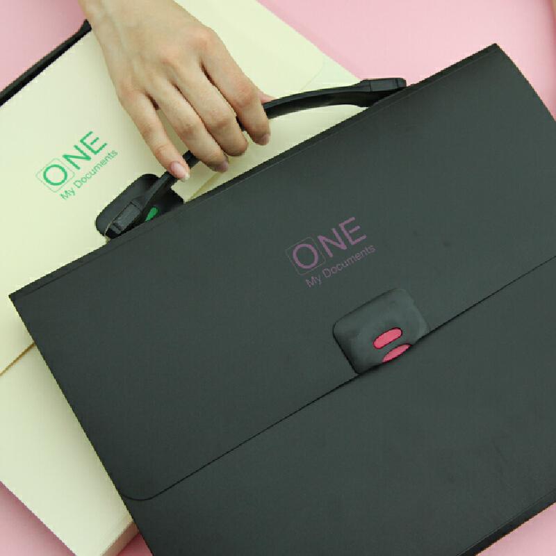 文件夹多层 小学生手提风琴包 简约文件袋韩国文具创意彩色插页袋